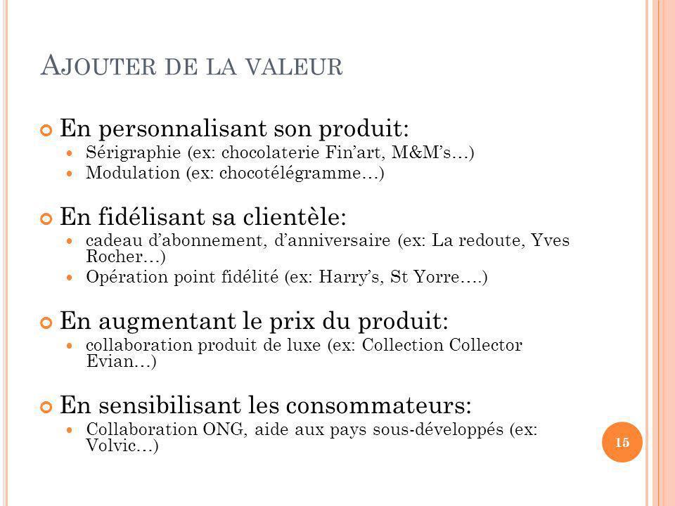 Ajouter de la valeur En personnalisant son produit: