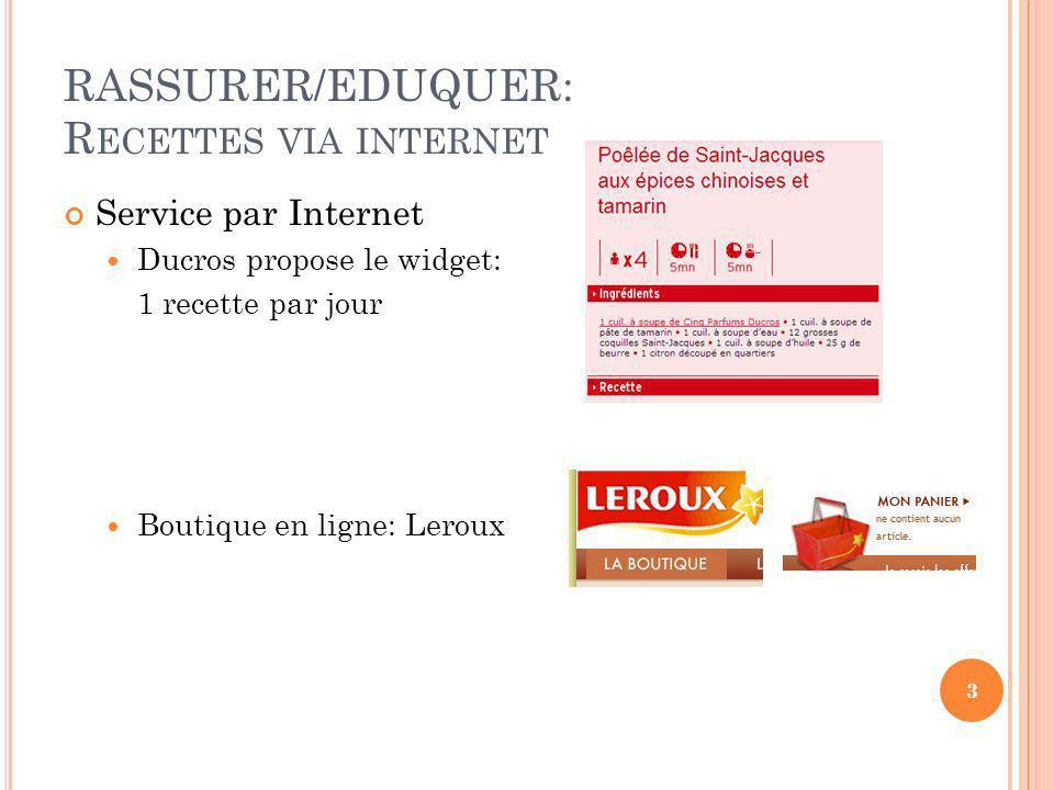 RASSURER/EDUQUER: Recettes via internet Service par Internet