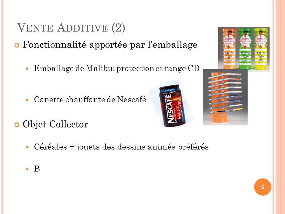 Vente Additive (2) Fonctionnalité apportée par l'emballage