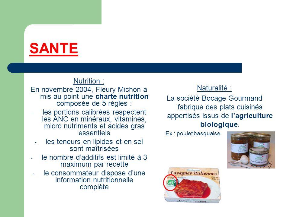 SANTE Nutrition : En novembre 2004, Fleury Michon a mis au point une charte nutrition composée de 5 règles :