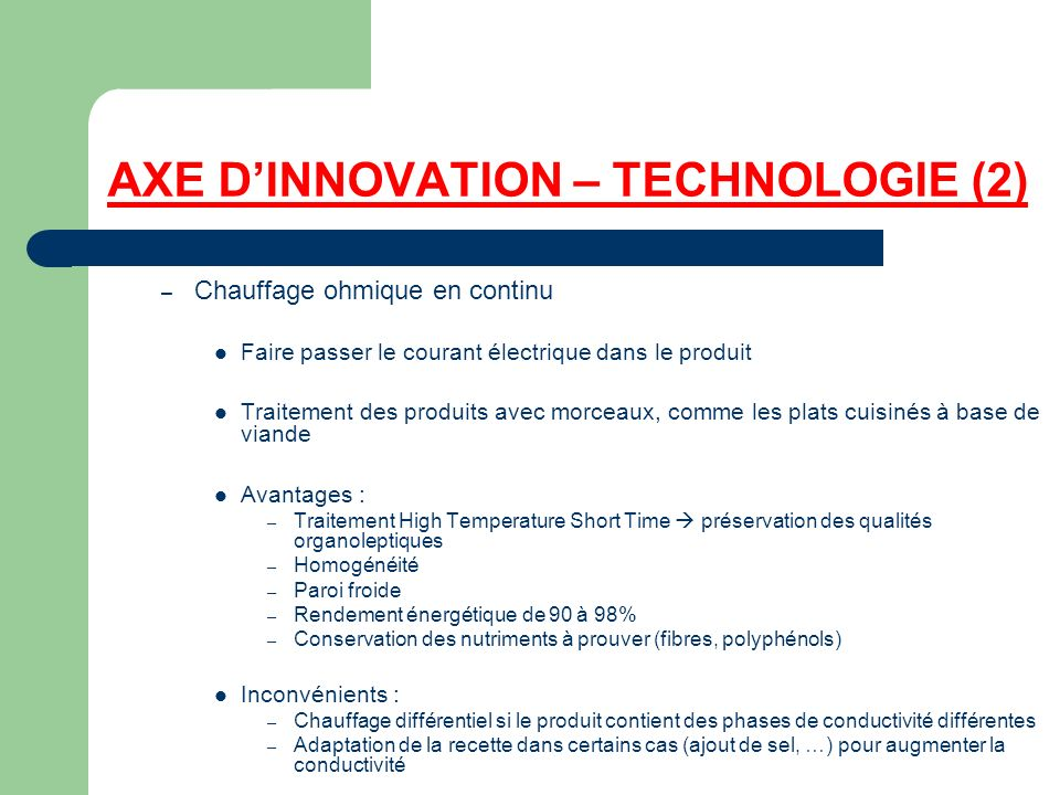AXE D'INNOVATION – TECHNOLOGIE (2)