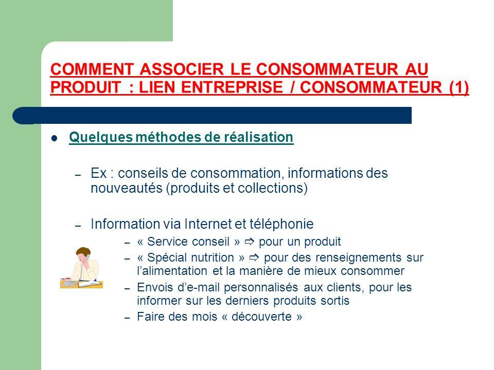 COMMENT ASSOCIER LE CONSOMMATEUR AU PRODUIT : LIEN ENTREPRISE / CONSOMMATEUR (1)