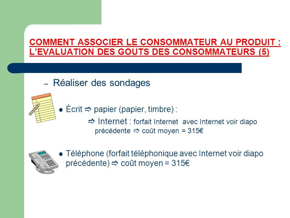 COMMENT ASSOCIER LE CONSOMMATEUR AU PRODUIT : L'EVALUATION DES GOUTS DES CONSOMMATEURS (5)