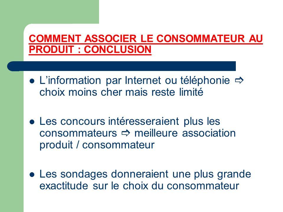 COMMENT ASSOCIER LE CONSOMMATEUR AU PRODUIT : CONCLUSION