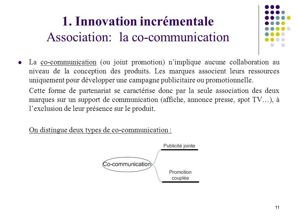 1. Innovation incrémentale Association: la co-communication