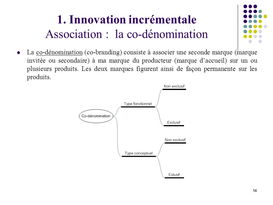 1. Innovation incrémentale Association : la co-dénomination
