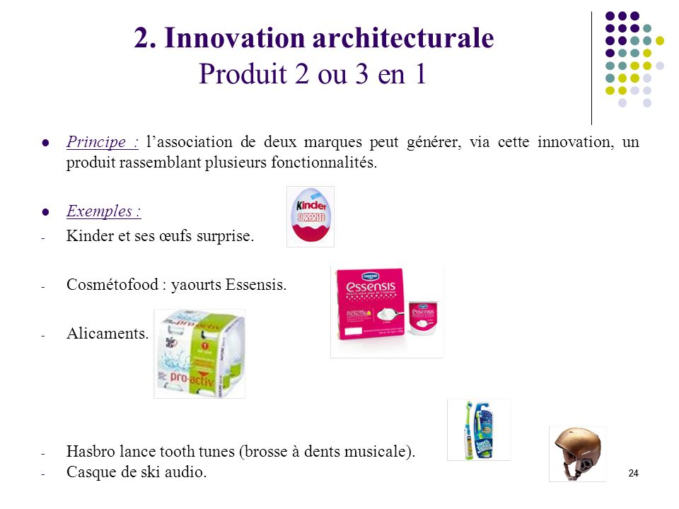 2. Innovation architecturale Produit 2 ou 3 en 1