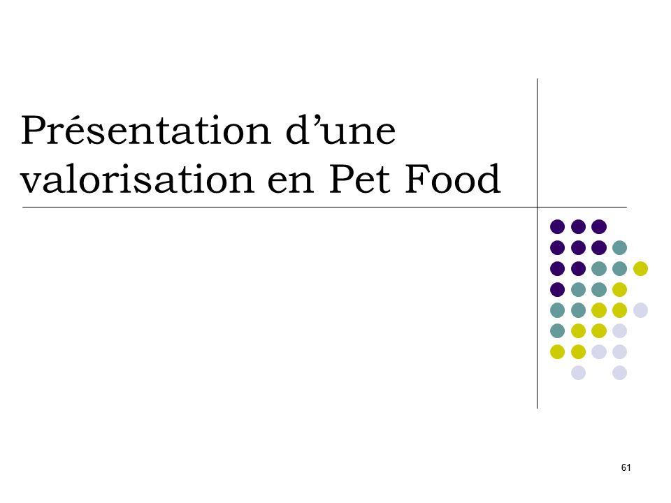 Présentation d'une valorisation en Pet Food