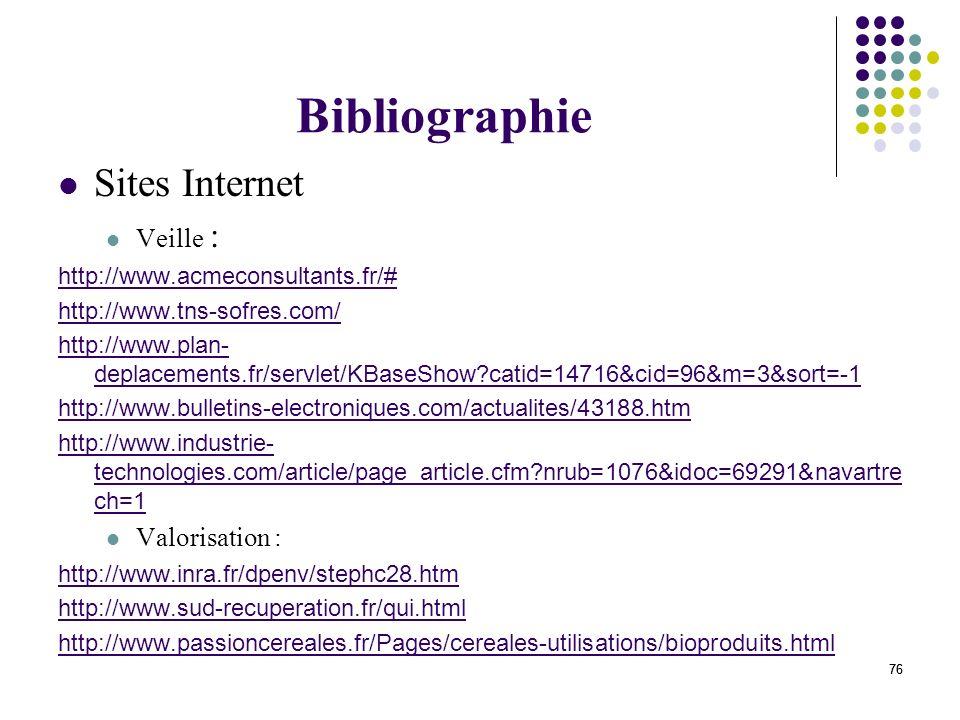 Bibliographie Sites Internet Veille : Valorisation :