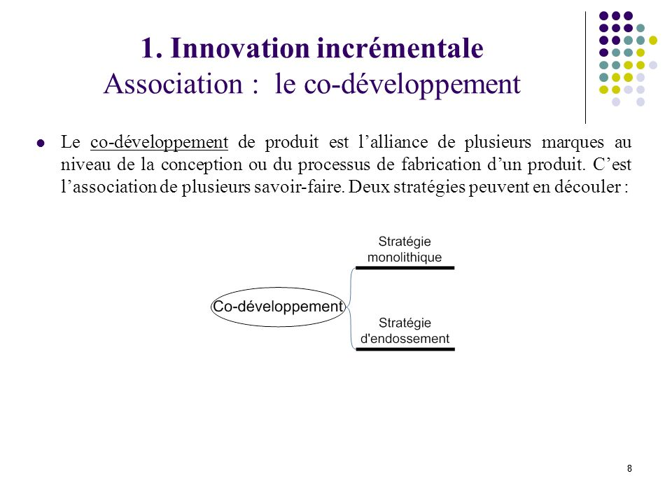 1. Innovation incrémentale Association : le co-développement