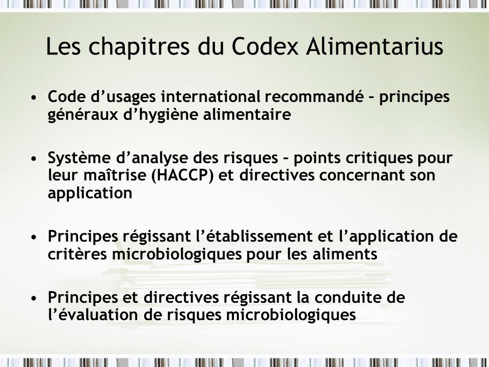 Les chapitres du Codex Alimentarius