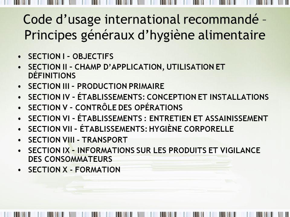 Code d'usage international recommandé – Principes généraux d'hygiène alimentaire