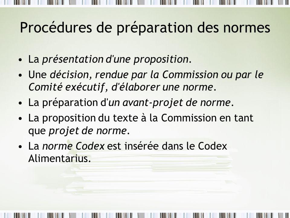 Procédures de préparation des normes