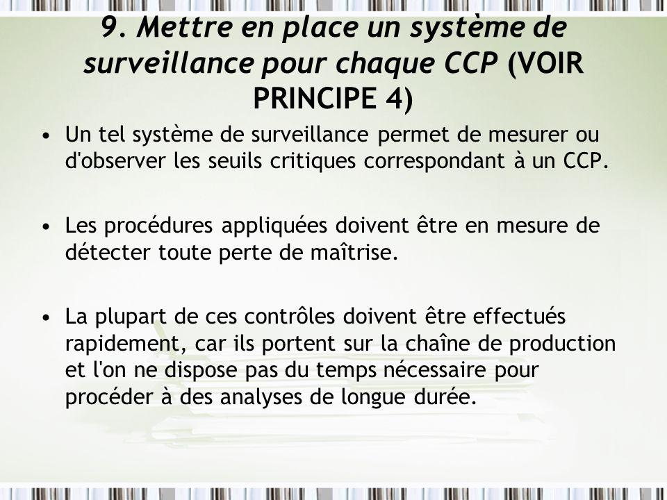 9. Mettre en place un système de surveillance pour chaque CCP (VOIR PRINCIPE 4)