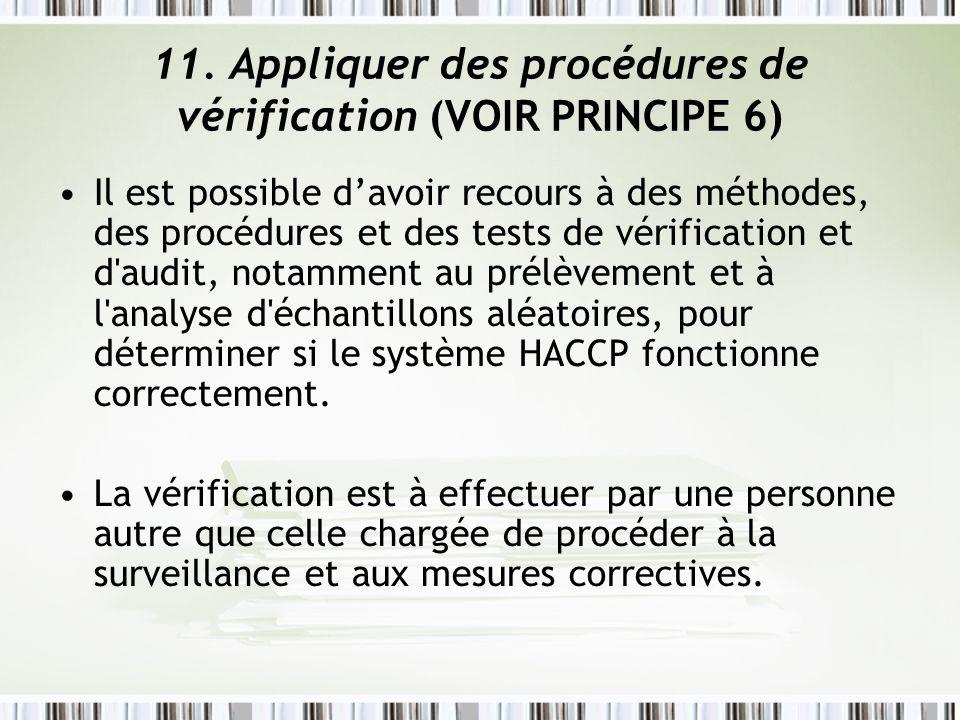 11. Appliquer des procédures de vérification (VOIR PRINCIPE 6)