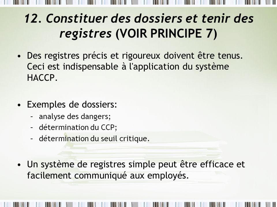 12. Constituer des dossiers et tenir des registres (VOIR PRINCIPE 7)
