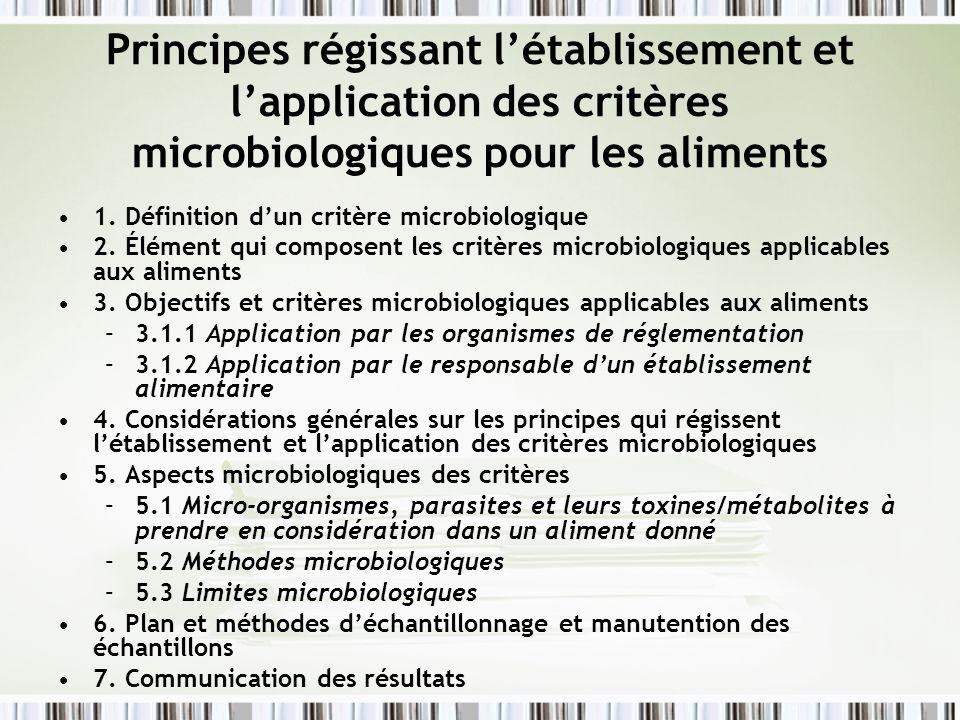 Principes régissant l'établissement et l'application des critères microbiologiques pour les aliments