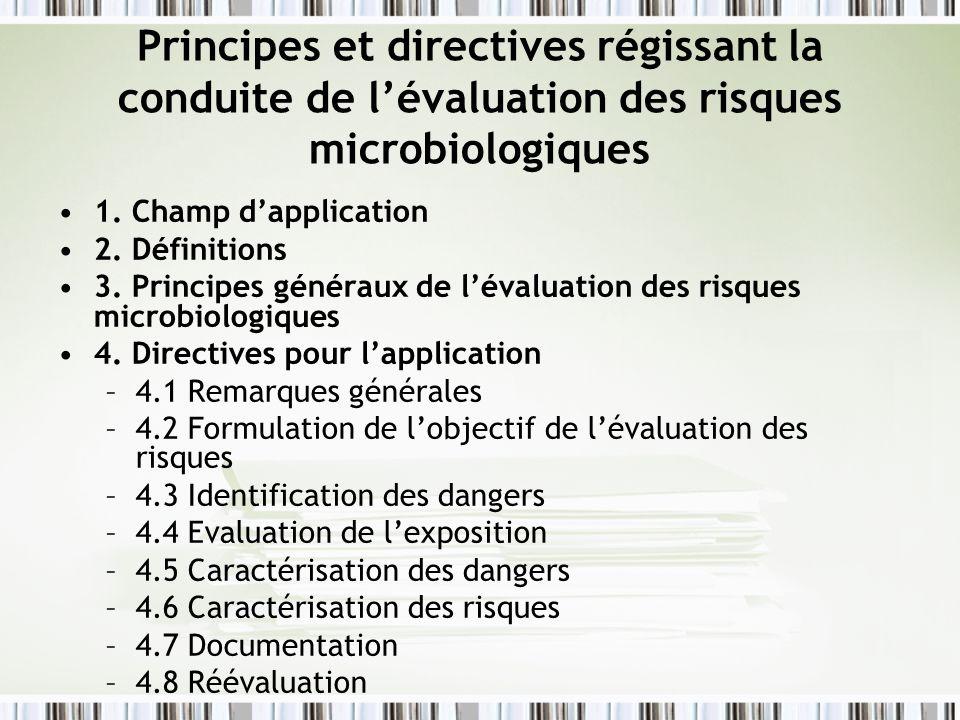 Principes et directives régissant la conduite de l'évaluation des risques microbiologiques