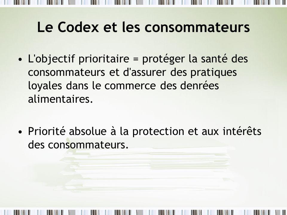 Le Codex et les consommateurs