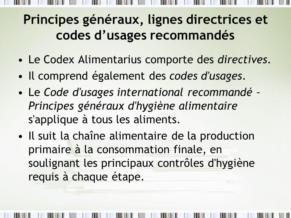 Principes généraux, lignes directrices et codes d'usages recommandés
