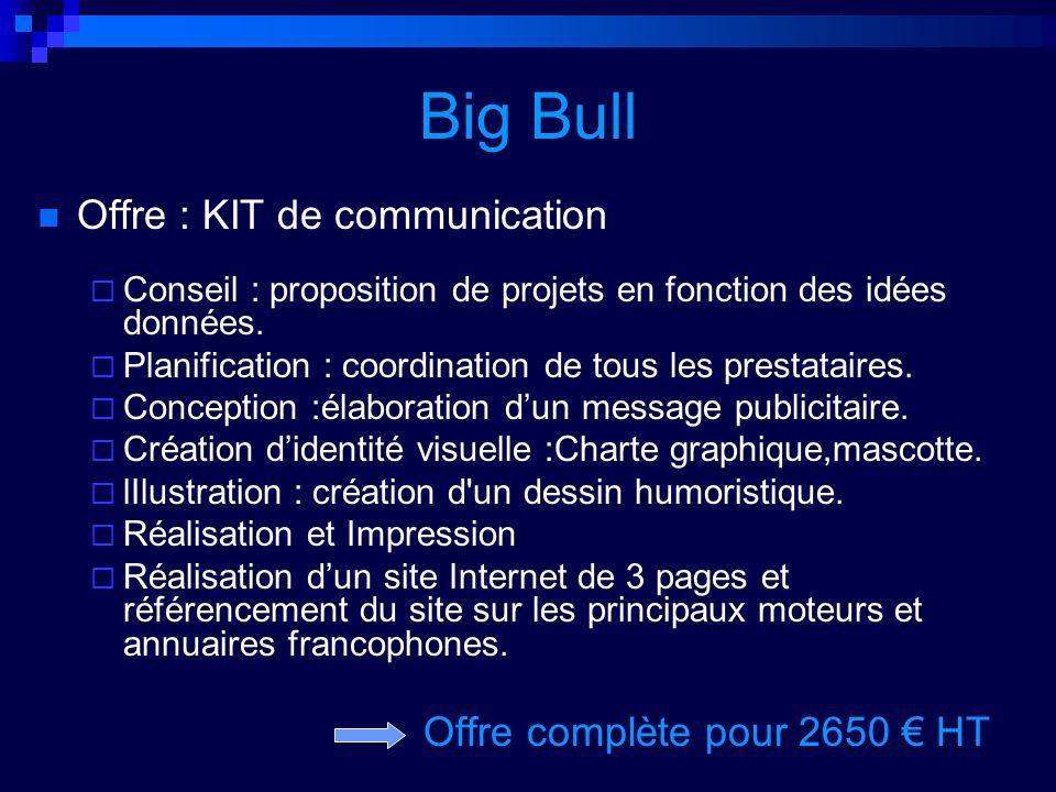 Big Bull Offre : KIT de communication Offre complète pour 2650 € HT