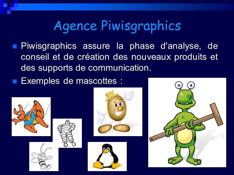Agence PiwisgraphicsPiwisgraphics assure la phase d analyse, de conseil et de création des nouveaux produits et des supports de communication.