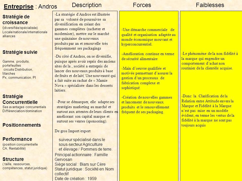 Description Forces Faiblesses Entreprise : Andros