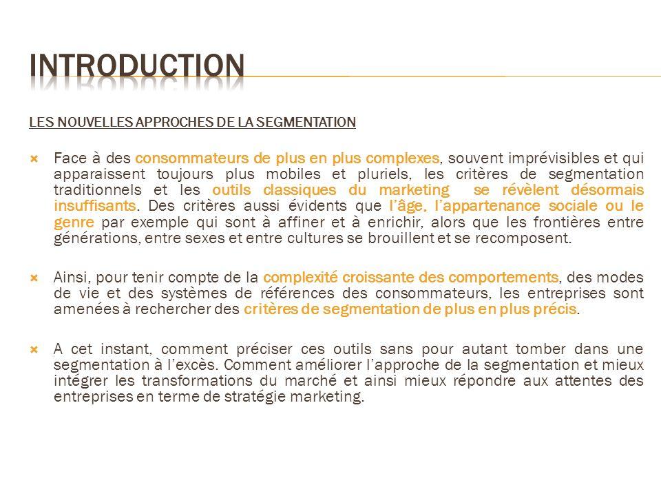 Introduction LES NOUVELLES APPROCHES DE LA SEGMENTATION.