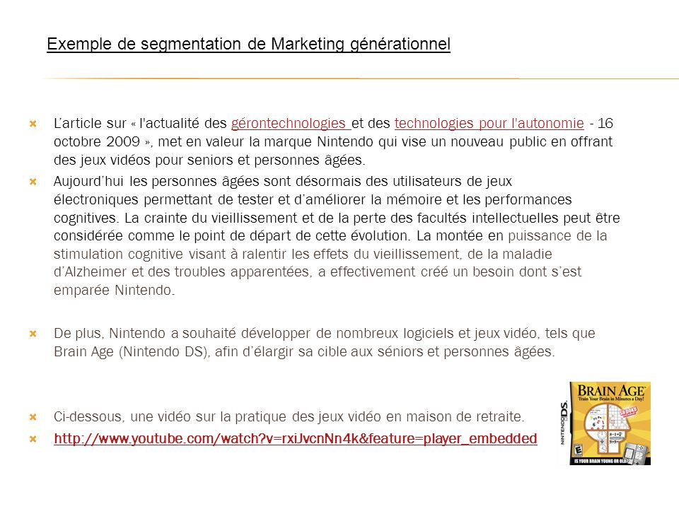 Exemple de segmentation de Marketing générationnel