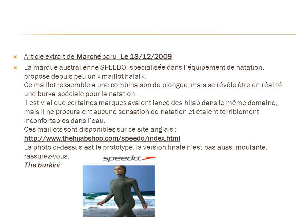 Article extrait de Marché paru Le 18/12/2009
