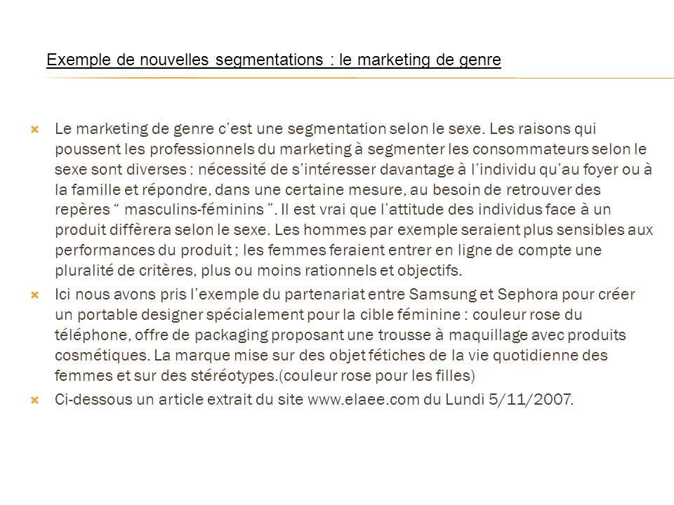 Exemple de nouvelles segmentations : le marketing de genre