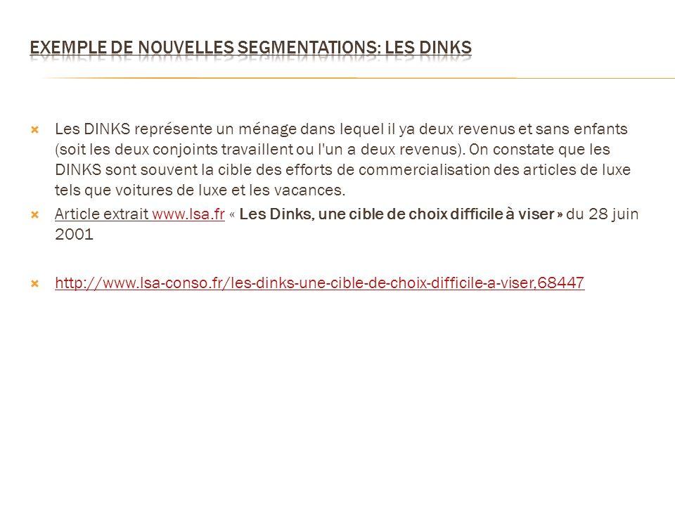 Exemple de nouvelles segmentations: les DINKS