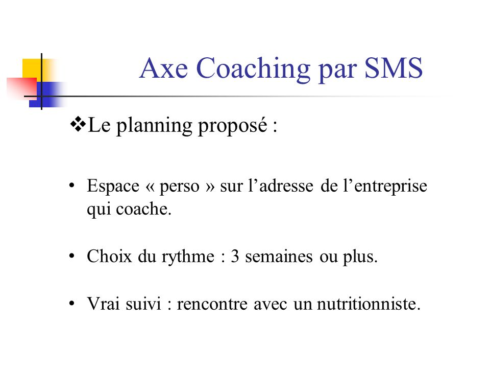 Axe Coaching par SMS Le planning proposé :