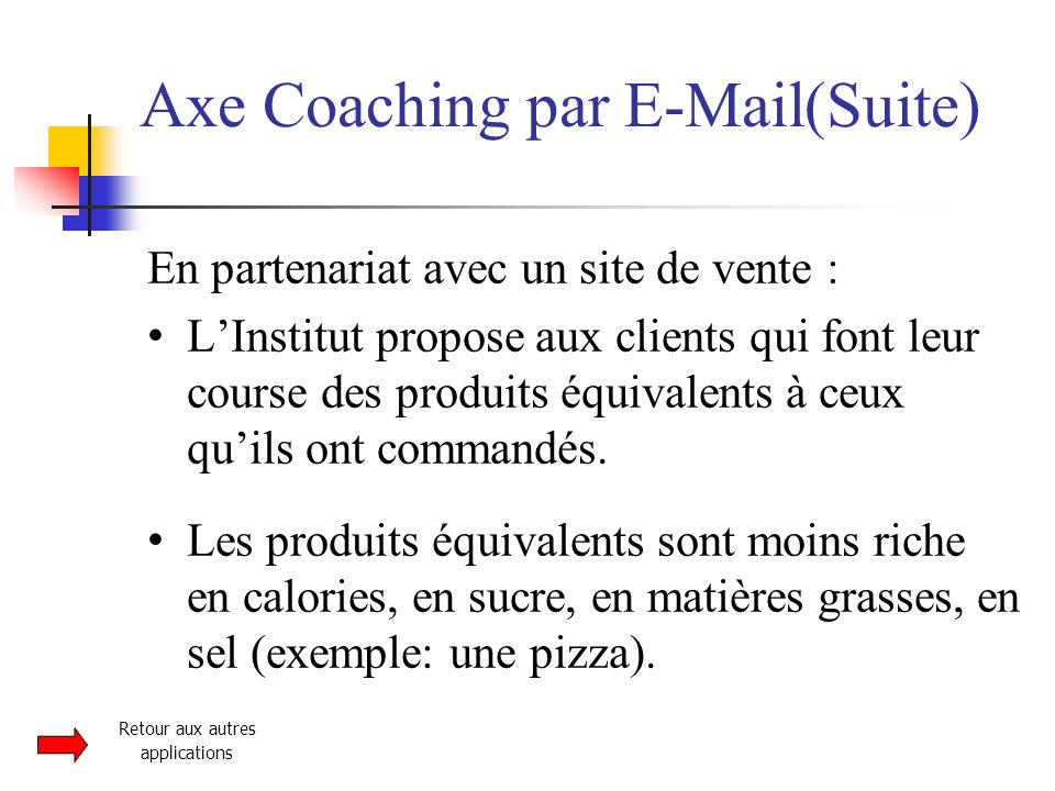 Axe Coaching par E-Mail(Suite)‏