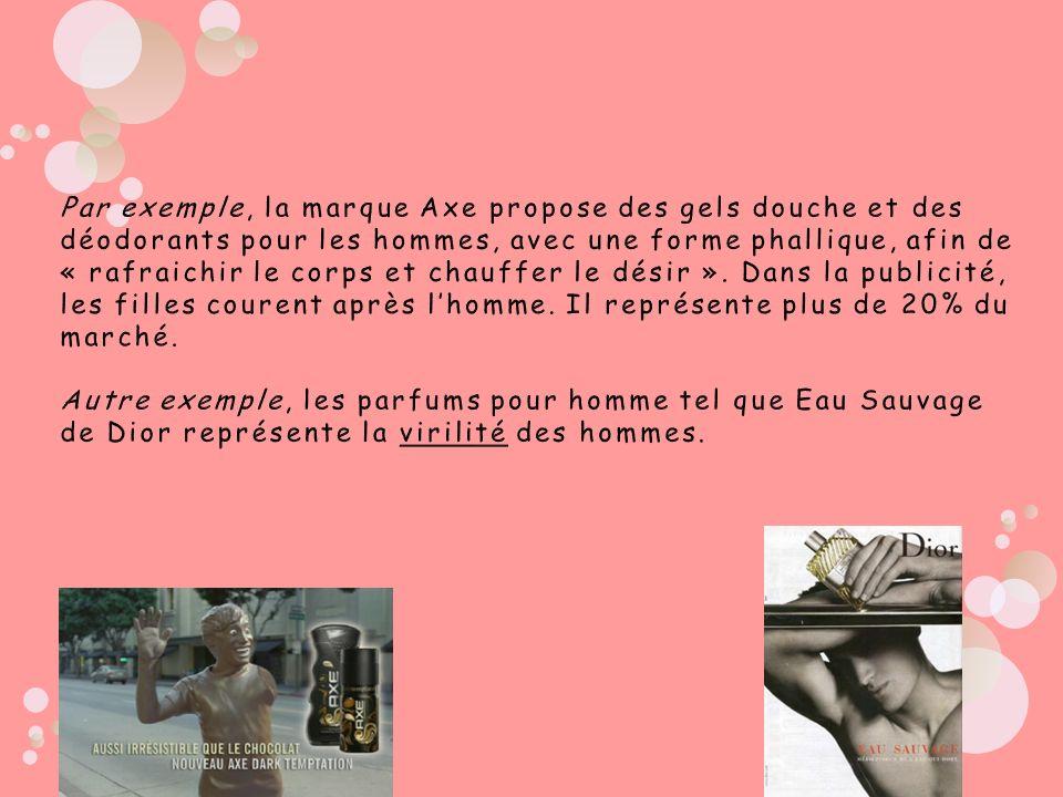 Par exemple, la marque Axe propose des gels douche et des déodorants pour les hommes, avec une forme phallique, afin de « rafraichir le corps et chauffer le désir ».