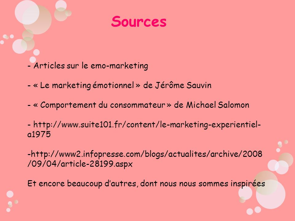 Sources Articles sur le emo-marketing