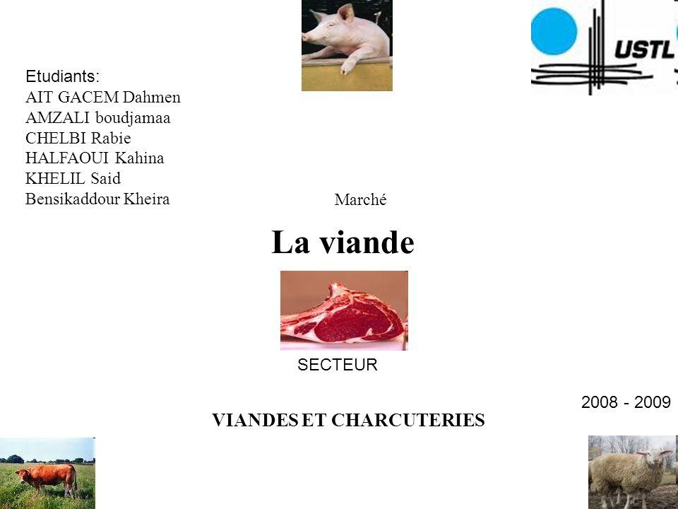 La viande VIANDES ET CHARCUTERIES Etudiants: AIT GACEM Dahmen