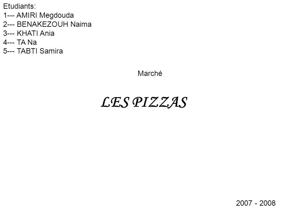 LES PIZZAS Etudiants: 1--- AMIRI Megdouda 2--- BENAKEZOUH Naima