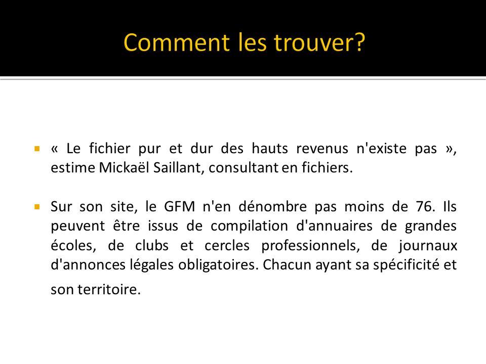 Comment les trouver « Le fichier pur et dur des hauts revenus n existe pas », estime Mickaël Saillant, consultant en fichiers.