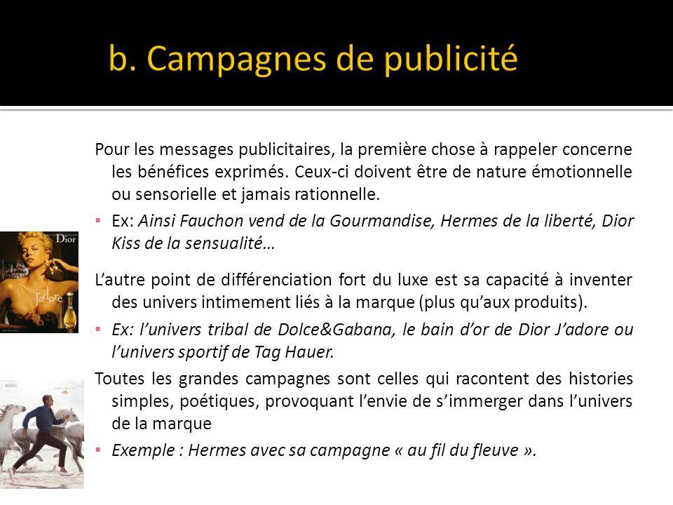 b. Campagnes de publicité