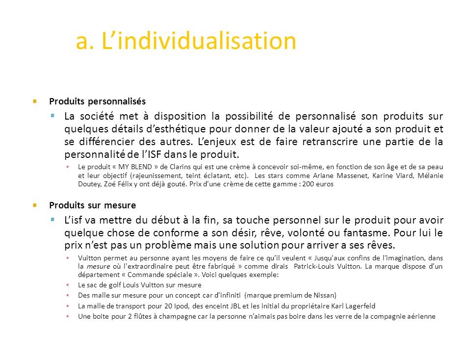 a. L'individualisation