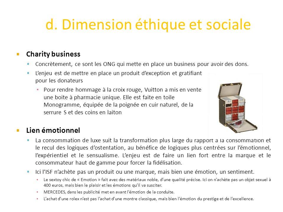 d. Dimension éthique et sociale