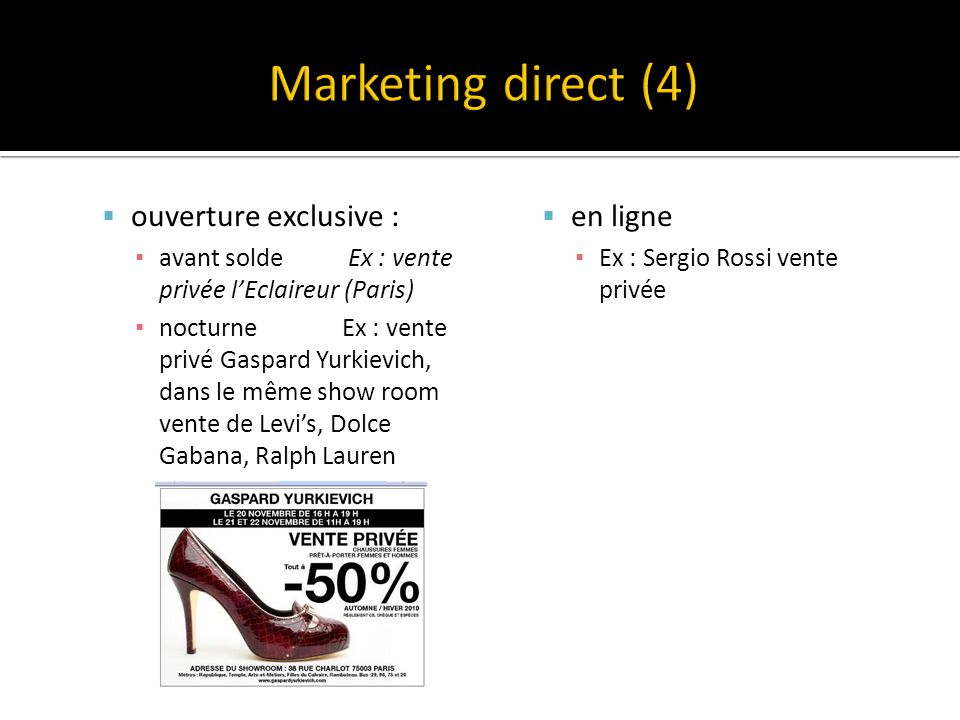 Marketing direct (4) ouverture exclusive : en ligne