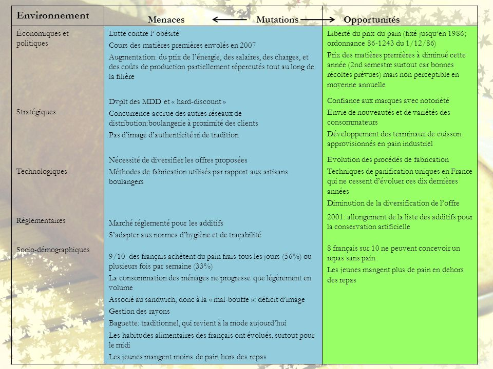 Environnement Menaces Mutations Opportunités Économiques et politiques