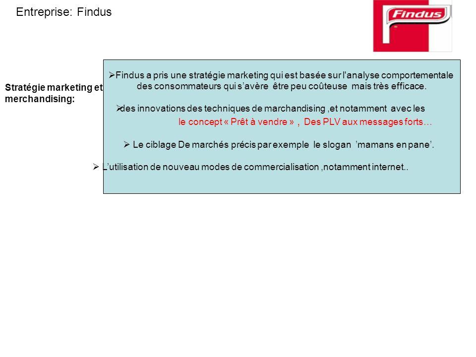 Entreprise: Findus Findus a pris une stratégie marketing qui est basée sur l analyse comportementale.