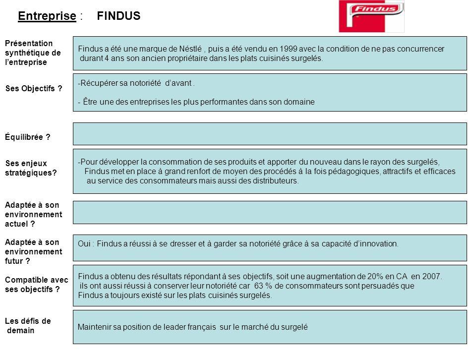 Entreprise : FINDUS Présentation synthétique de l'entreprise