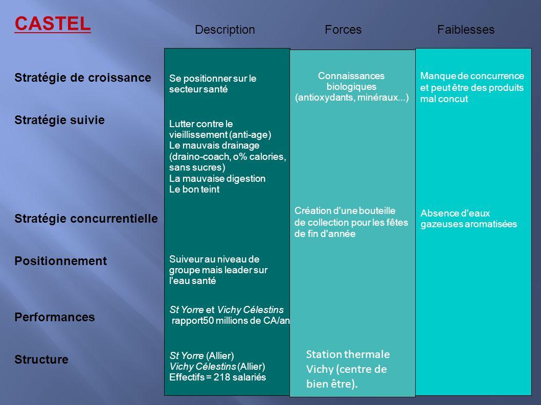 CASTEL Description Forces Faiblesses Stratégie de croissance