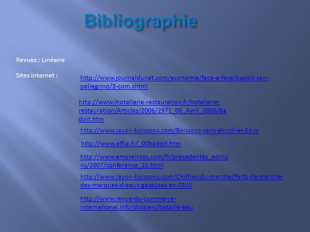 Bibliographie Revues : Linéaire Sites internet :