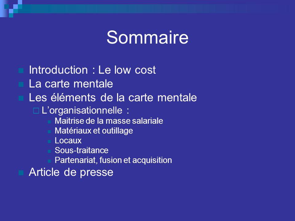 Sommaire Introduction : Le low cost La carte mentale