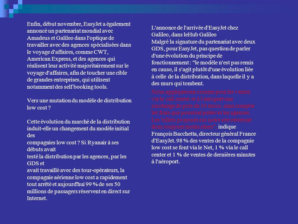 Enfin, début novembre, EasyJet a également annoncé un partenariat mondial avec Amadeus et Galileo dans l optique de travailler avec des agences spécialisées dans le voyage d affaires, comme CWT, American Express, et des agences qui réalisent leur activité majoritairement sur le voyage d affaires, afin de toucher une cible de grandes entreprises, qui utilisent notamment des self booking tools. Vers une mutation du modèle de distribution low cost Cette évolution du marché de la distribution induit-elle un changement du modèle initial des compagnies low cost Si Ryanair à ses débuts avait testé la distribution par les agences, par les GDS et avait travaillé avec des tour-opérateurs, la compagnie aérienne low cost a rapidement tout arrêté et aujourd hui 99 % de ses 50 millions de passagers réservent en direct sur Internet.